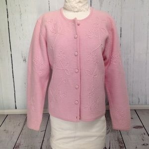 Pale Pink Wool Cardigan Embroidered Flowers